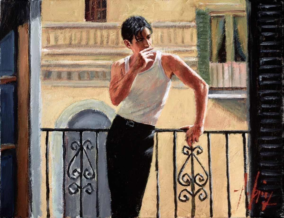 Smoking Under the Sun III by Fabian Perez -  sized 18x14 inches. Available from Whitewall Galleries